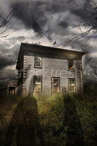 古い 捨てられた 家 飛行 幽霊 ハロウィン ストックフォト © Sandralise
