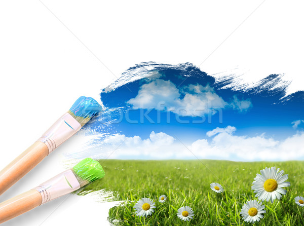 Stock photo: Painting a landscape with blue sky