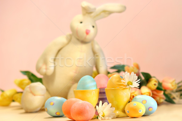 Colorful eggs for Easter with bunny Stock photo © Sandralise
