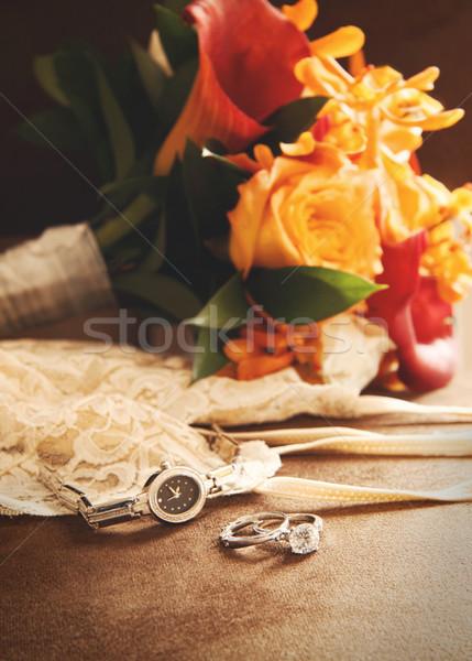 обручальное кольцо букет бархат Председатель свадьба любви Сток-фото © Sandralise