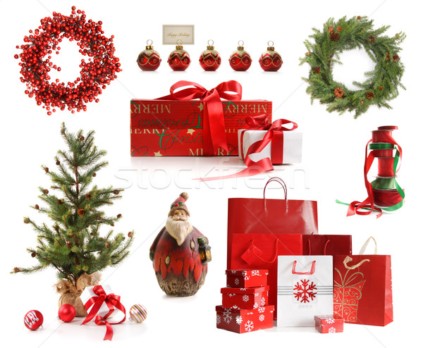 Group of Christmas objects isolated on white  Stock photo © Sandralise