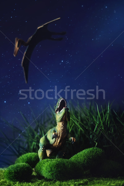 Tyrannosaurus fighting with a prehistoric flying bird Stock photo © Sandralise