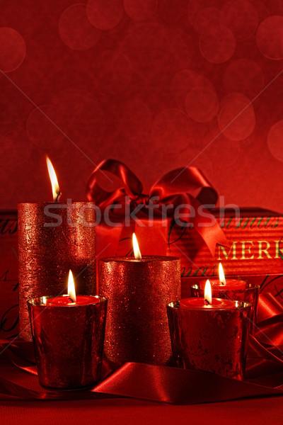 Сток-фото: Рождества · свечей · красный · Vintage · свечу · мяча