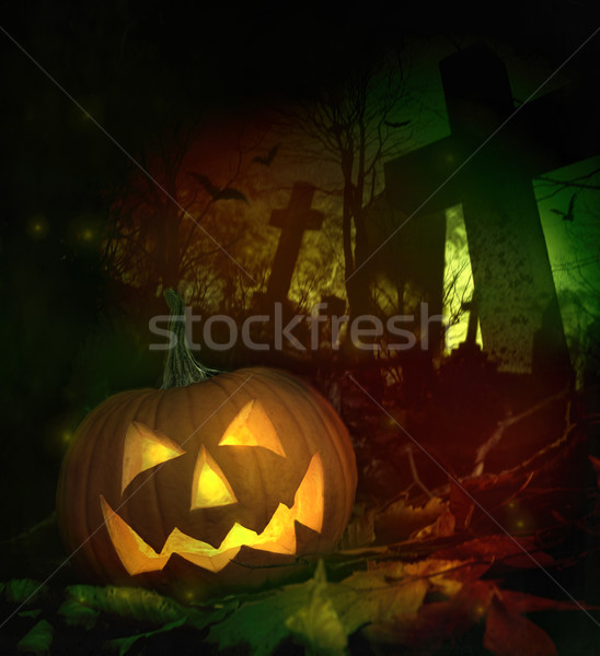 Halloween pumpkin in spooky cemetery Stock photo © Sandralise