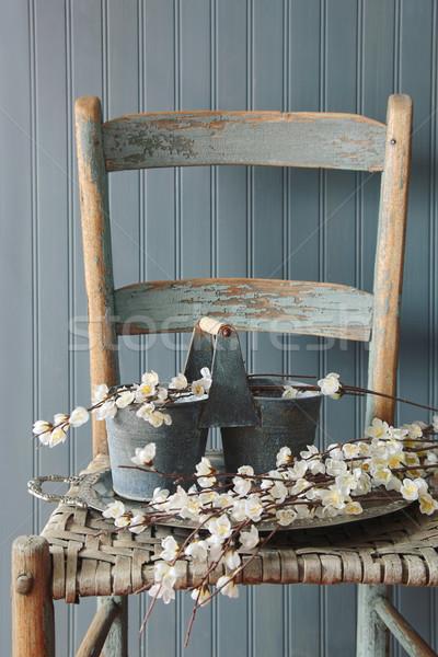 Sahte elma eski sandalye Stok fotoğraf © Sandralise