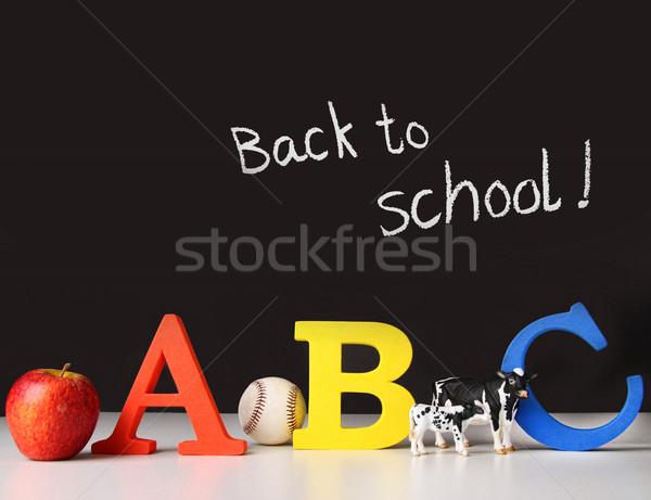 Vissza az iskolába levelek iskolatábla iskola baseball tanár Stock fotó © Sandralise