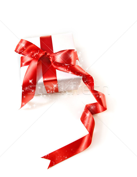 Stock photo: Gift box  with red satin ribbon