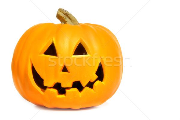 Pumpkin with halloween phrases on white Stock photo © Sandralise