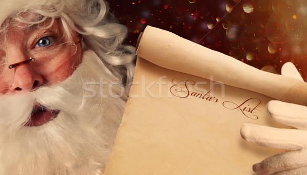 Kerstman lijst scroll Stockfoto © Sandralise