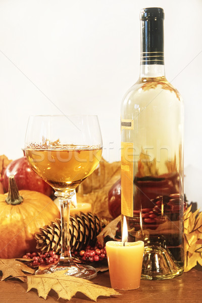 Festive decorations with wine and candles for Thanksgiving Stock photo © Sandralise