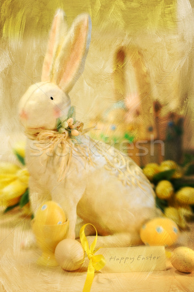 Easter bunny and eggs with a painterly effect  Stock photo © Sandralise