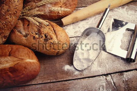 Assortment of loaves of bread with flour Stock photo © Sandralise