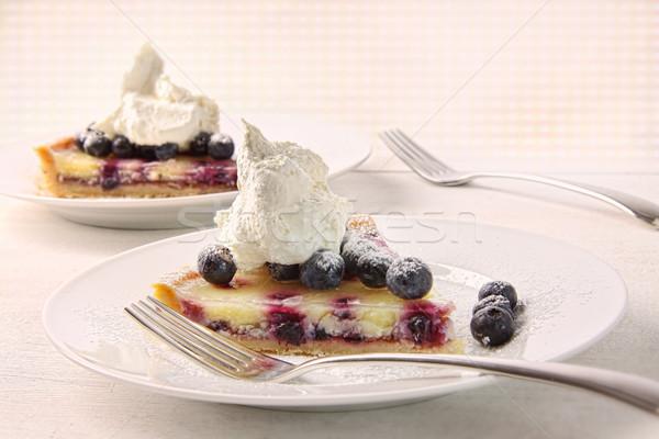 Closeup of fresh lemon blueberry tarte  Stock photo © Sandralise