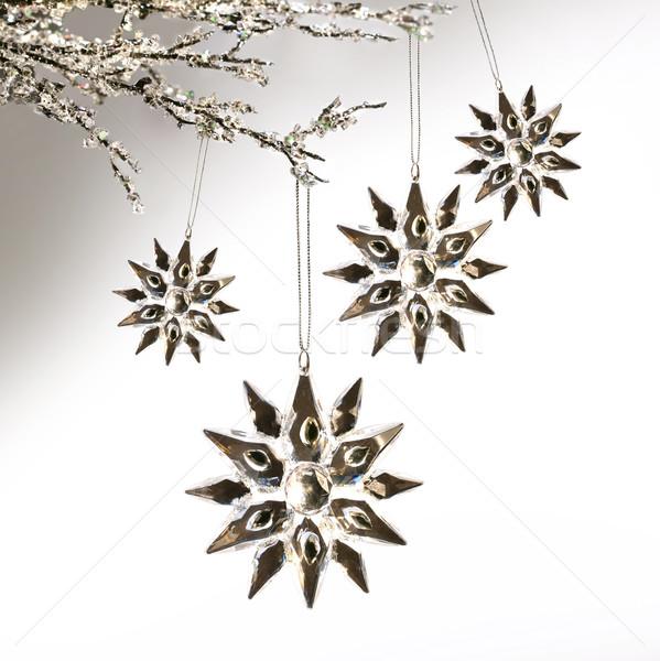 Plata colgante pálido gris estrellas Foto stock © Sandralise
