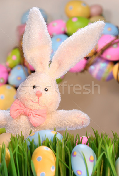 White rabbit with colored eggs Stock photo © Sandralise