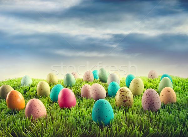 Easter eggs in grass  Stock photo © Sandralise