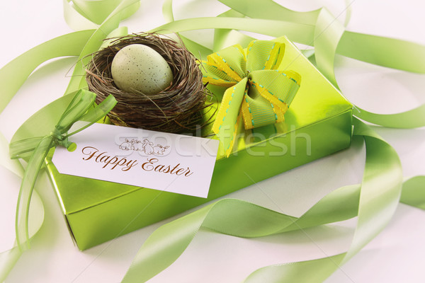 Box of chocolates and gift card for easter Stock photo © Sandralise