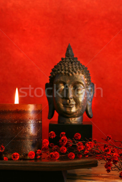Asian Kerze buddha Kopf Blume Design Stock foto © Sandralise