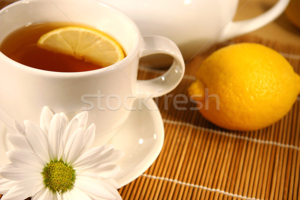 Stock photo: Tea and lemon slice