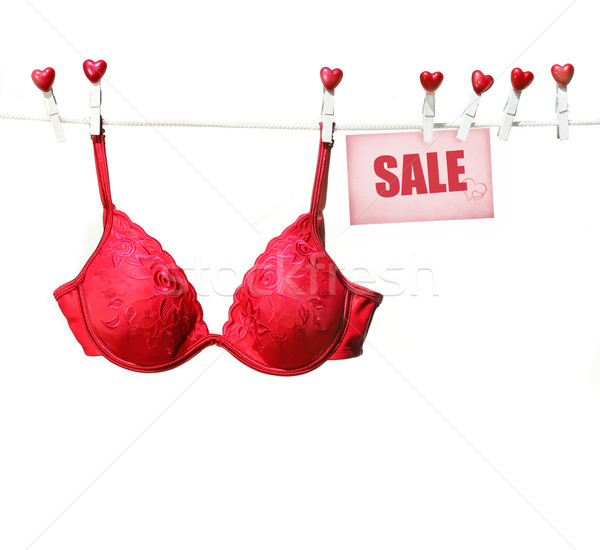 Stockfoto: Rood · beha · opknoping · waslijn · witte · geschenk