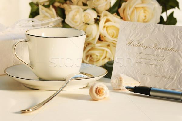 Photo stock: Pause · thé · écrit · invitation · invitation · de · mariage