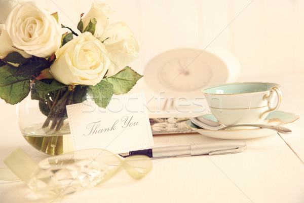 Thank you note on table with nostalgic feel Stock photo © Sandralise