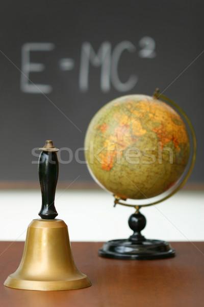 Stockfoto: Oude · school · bel · bureau · schoolbord · hout
