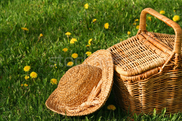 Summer hat and wicker basket on the grass  Stock photo © Sandralise