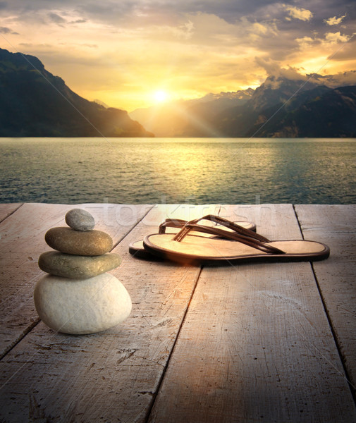 мнение сандалии пород док закат древесины Сток-фото © Sandralise