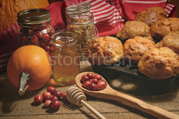Muffins with fresh cranberries on table Stock photo © Sandralise
