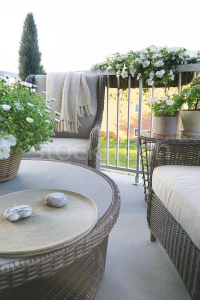 Muebles balcón hierba madera diseno Foto stock © Sandralise