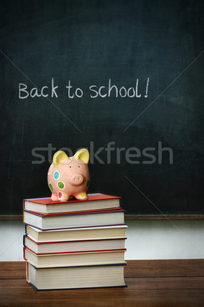 Piggy bank and books in front of chalkboard Stock photo © Sandralise