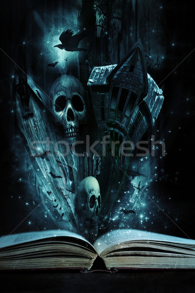 Open story book with Halloween stories coming alive Stock photo © Sandralise