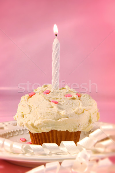 Little cupcake with candle Stock photo © Sandralise