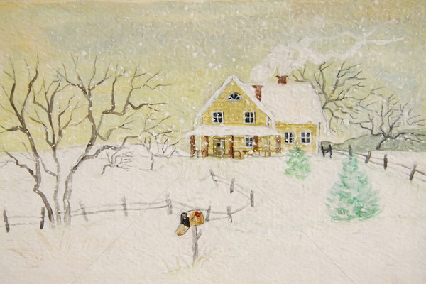 Winter painting of house with mailbox, digitally altered Stock photo © Sandralise