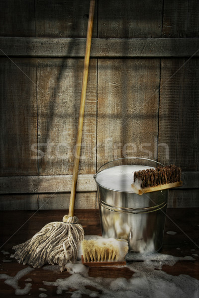 Mop with bucket and scrub brushes Stock photo © Sandralise
