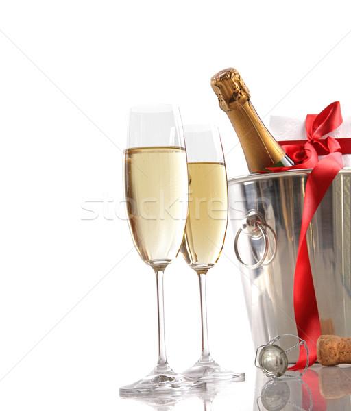 Stock fotó: Szemüveg · pezsgő · vörös · szalag · ajándék · jég · vödör