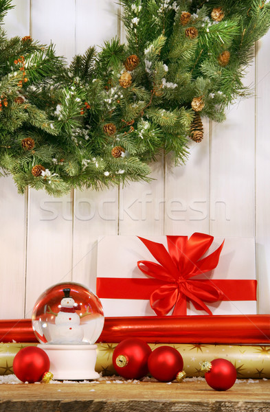 Holiday wreath with snow globe and red christmas balls  Stock photo © Sandralise