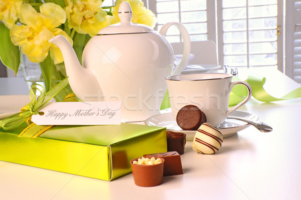 Box of chocolates on table with tea set  Stock photo © Sandralise