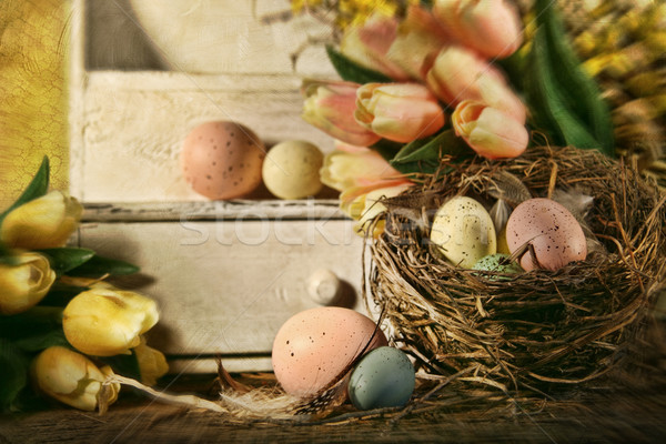 Eggs and tulips with nostalgic feeling for Easter Stock photo © Sandralise