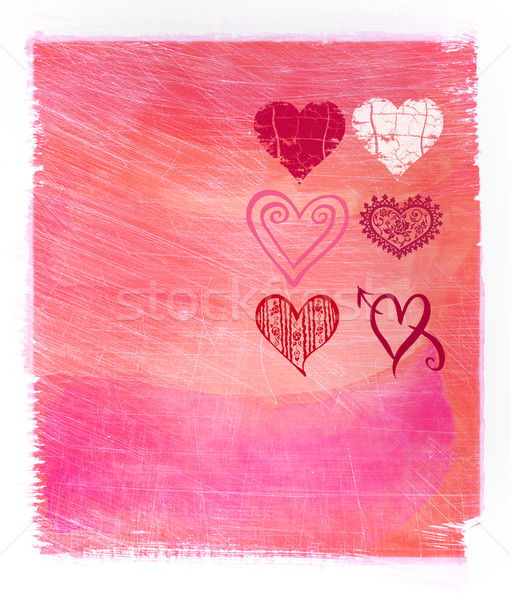 Abstract  pink watercolor background with hearts Stock photo © Sandralise
