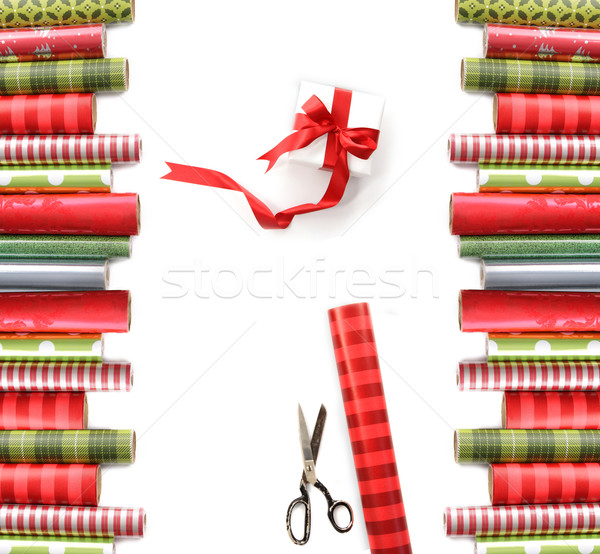 Rolls of colored wrapping  paper on white Stock photo © Sandralise
