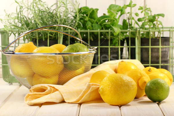 Stock photo: Lemons and herbs