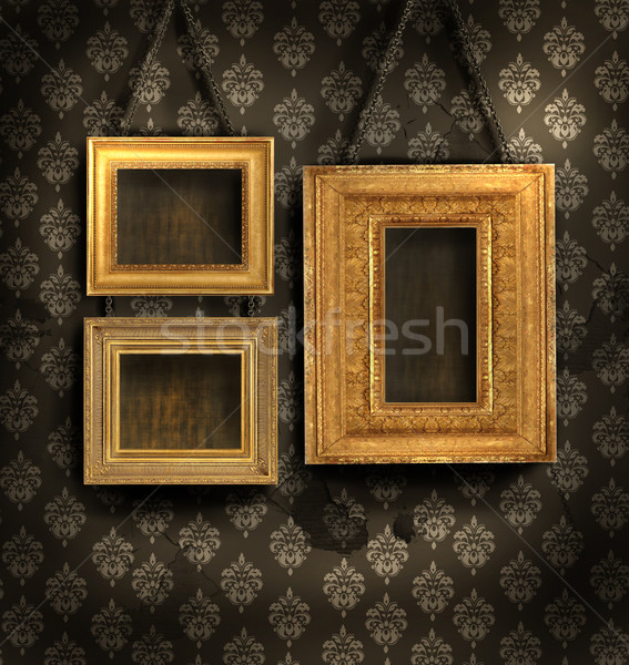 Foto stock: Tres · dorado · marcos · papel · pintado · antiguo · papel · pared