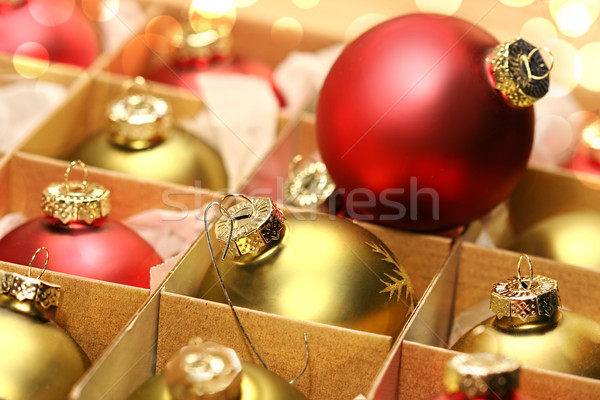 Collection of Christmas balls in box Stock photo © Sandralise