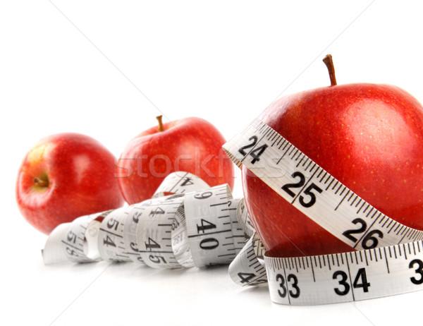 Stock foto: Äpfel · Maßband · weiß · Essen · Gesundheit · Hintergrund