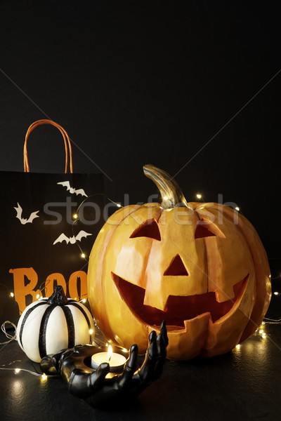 Large Halloween pumpkin with light and decorations              Stock photo © Sandralise