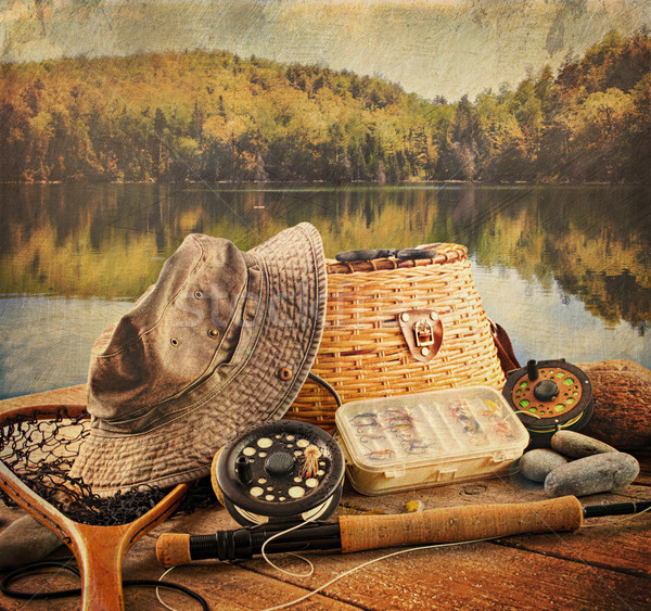 Fly fishing equipment  with vintage look Stock photo © Sandralise