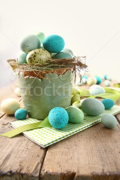 Speckled eggs  in bowl for Easter Stock photo © Sandralise