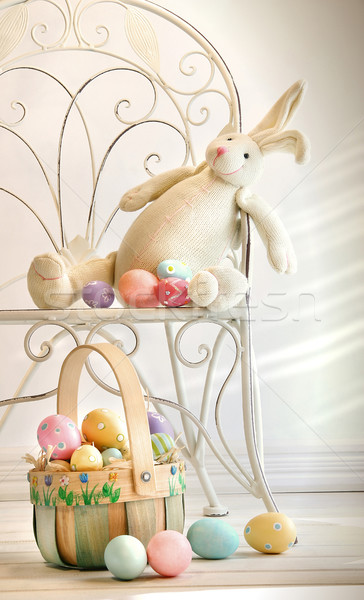 Stuffed rabbit on iron chair  Stock photo © Sandralise